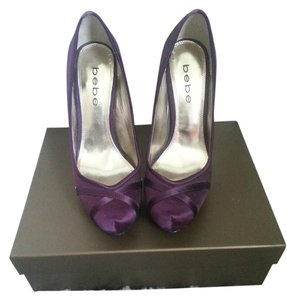Bebe Satin Gold Insole Plum Pumps