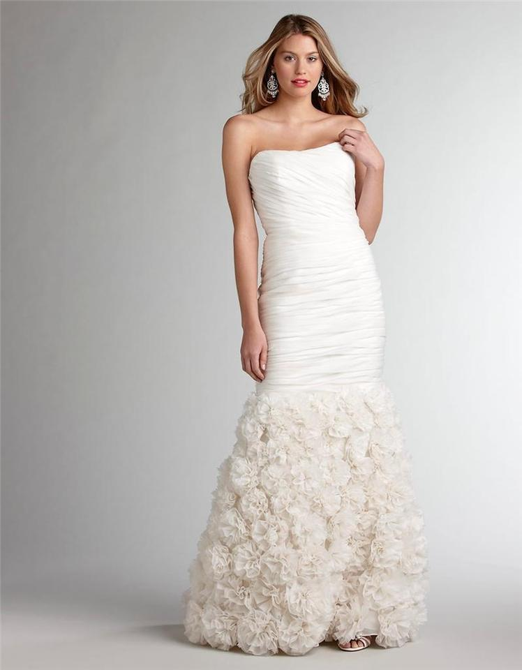 Theia Ivory Silk Strapless Rosette Gown Feminine Wedding Dress - Rosette Wedding Dress