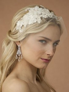 Beaded European Lace Bridal Headband & Petite Face Veil