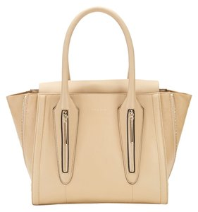 Pour La Victoire Leather Tote Double Zipper Gold Hardware Satchel in Bone