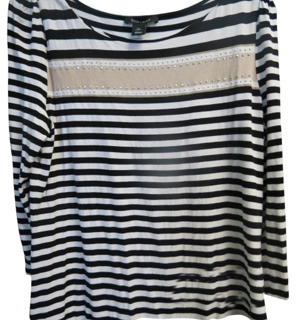 White House | Black Market Top black/white stripe with tan
