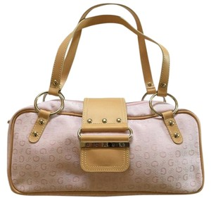Guess Monogram Satchel in Pink with Tan Trim