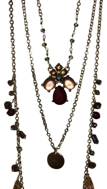 Item - Maroon Gold Peach Necklace