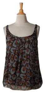 MILLY Mily Brown Silk Top Multi