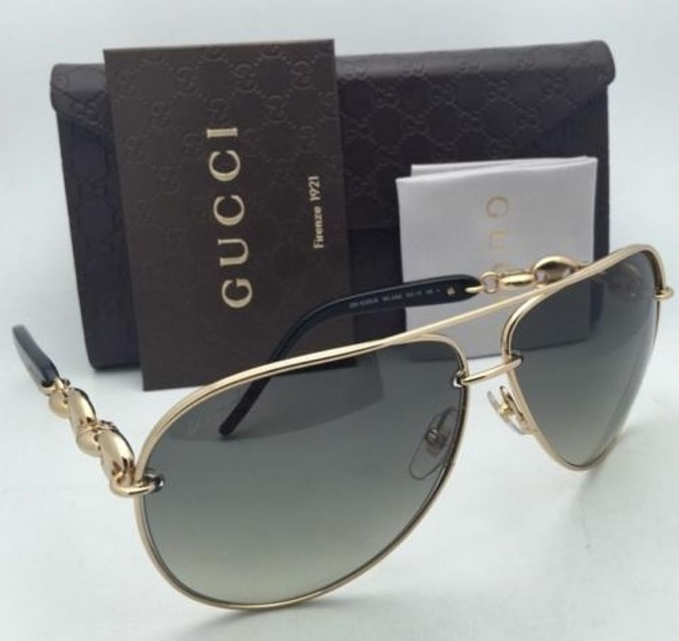 ea358cea23c Gucci New GUCCI Aviator Sunglasses GG 4225 S WL4AE 63-11 Gold   Black.  1234567891011