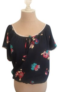 American Eagle Outfitters Top Blue Floral Multi