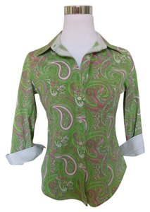 Talbots Paisley Stripe Button Down Shirt Green