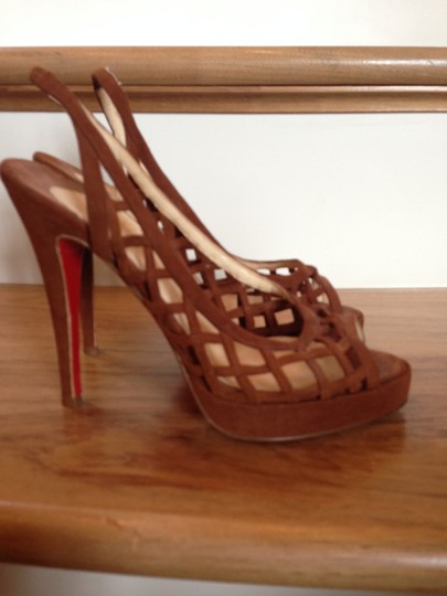 Christian Louboutin Leather Peep Toe Suede Brown Pumps
