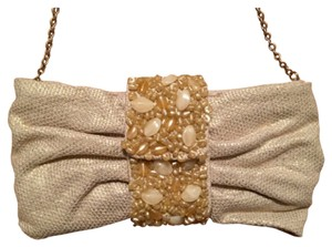 Banana Republic Nude Neutral Embellished Jewels Tan Clutch