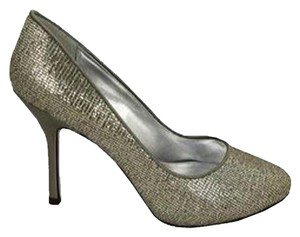 Nina Shoes Glitter Satin Pewter Pumps