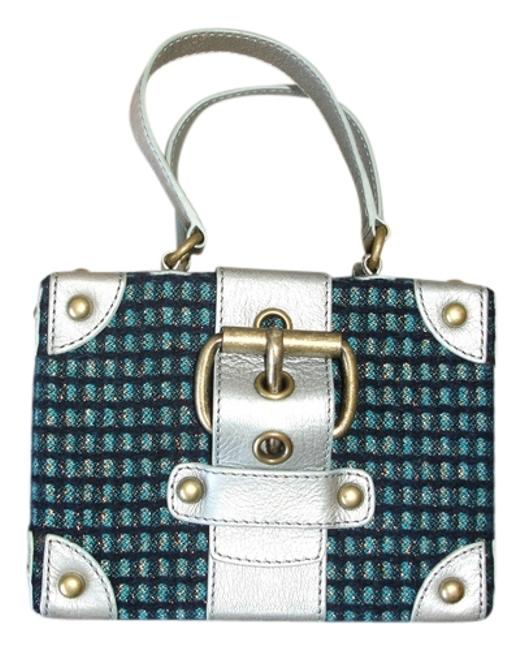 Item - Box Shaped Silver Mint Tweed/Leather Satchel