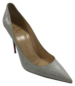 Christian Louboutin Sparkle Glittler Luminor Decollete Silver Pumps
