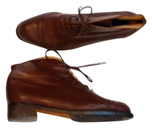 Bally Switzerland Lace Up Low Heel Chocolate Brown Boots