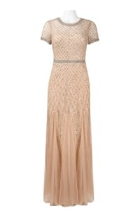 Adrianna Papell Beaded Gown Long Short Sleeve Dress