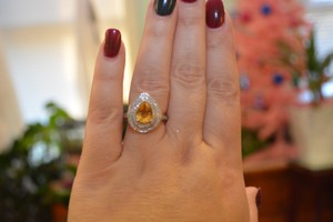 10k Citrine & Diamond Ring Nwt