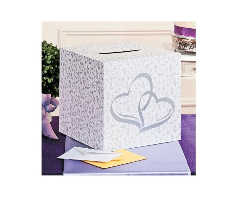 funhouse two hearts white gift card box reception gift card