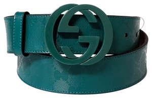 Gucci GUCCI 223891 GG Imprimee Green G Buckle Belt 90-36