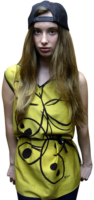 Vera Neumann Vintage Shirt/dress Butterfly Shirt Dress Long Short Sleeveless Black Buttons Great Condition Top Yellow