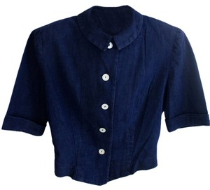 B. Altman & Co. Vintage Crop Button Down Shirt Blue