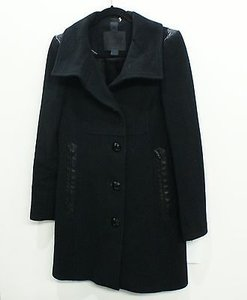 Mackage Wool Mid Length Leather Trim Coat