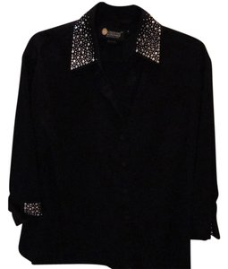 Christine Alexander Crystal Embellished Button Up Button Down Shirt Blac