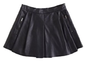Blank NYC Pleated Faux Leather Skirt Mini Skirt Blk