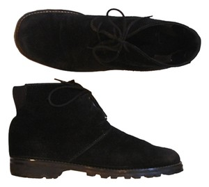 JG Hook Real Suede Genuine Lace Up Lace Ups Laceup Women Women's Womens Flat Low Heel Casual Casual Weekend Lug Sole Black Boots