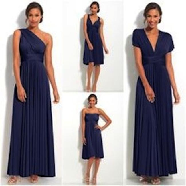 Item - Sapphire Blue / Slate Gray Jersey Classic Short Straight Modern Bridesmaid/Mob Dress Size OS (one size)