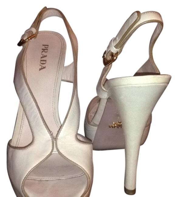 Item - Beige. Sole Pink. Gold Buckles Platforms Size US 10 Narrow (Aa, N)