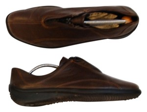 Ecco Leather Comfortable Loafer Loafers Zipper Brown Flats