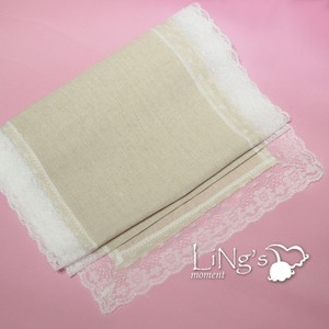 "Ivory Beige (Burlap-esque) 10pcs 14.5""X110"" Burlap Table Runner with Lace Trim Tablecloth"