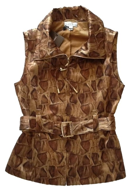 Item - New Animal Print Gold and Brown Sport Vest Size 4 (S)