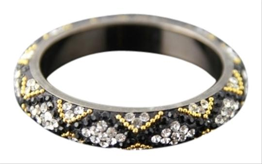 Other American Diamond Black Stone with Golden Highlights pair of Bangles
