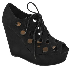 Shiekh Wedge High Heel Cage Bootie Black Wedges