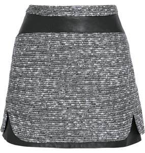 Diane von Furstenberg Dvf Coletta Dvf Mini Skirt GREY METALLIC TWEED & LEATHER
