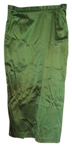 Hugo Buscati Victoria Pencil Shiny Shimmer Satin Skirt Green Apple