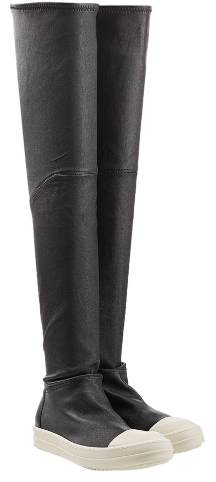 Rick Owens On Black Thigh High Slip On Owens Sneaker Boots/Booties b8c706
