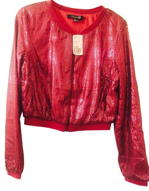 Item - Sequined Cropped Zippered Top/Lightweight Bomber Dark Fuchsia/Pink Top