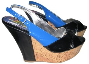 Dollhouse Black, Blue & Cork Wedges