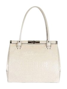 Kate Spade Crocodile Embossed Tote in Cream