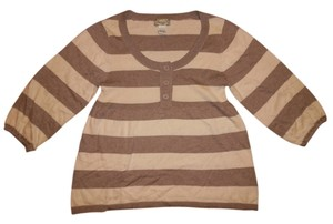 American Rag Stripes 3/4 Sleeves Thin Knit Sweater