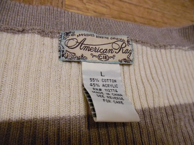 American Rag Stripes 3/4 Sleeves Thin Knit Sweater Image 3