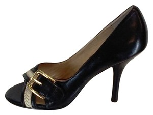 MICHAEL Michael Kors Leather Peep Toe Gold-tone Buckles Stacked Leather Black and White Pumps