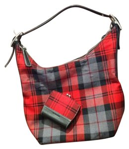 Coach Tote in Plaid Red
