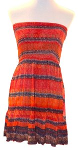 Ecote short dress Orange Smocked Strapless Summer on Tradesy