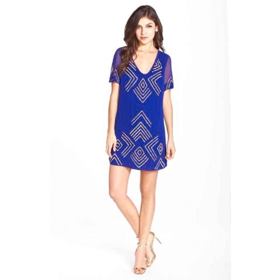 b10d58bc1f7 French Connection Blue Confetti Grid Tie Back T Short Cocktail Dress ...