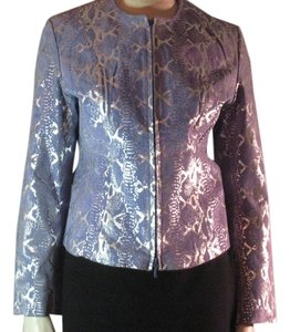 Metro Style Periwinkle Suede/Metallic Silver Leather Leather Jacket