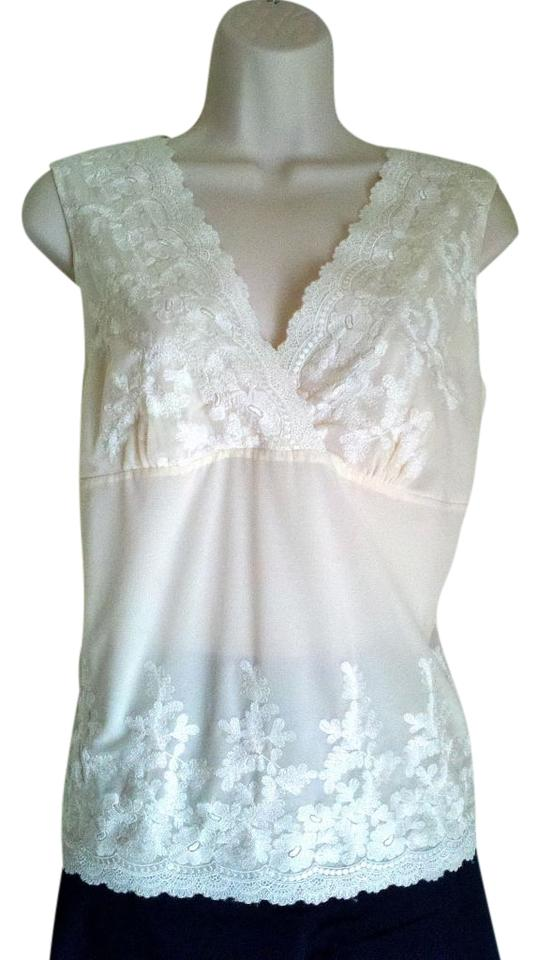 cd22836979b630 Talbots Embroidered Lace V-neck Sleeveless Like New Top Cream/off-white  Image ...