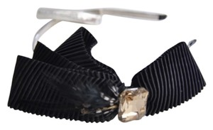 BCBGeneration Bcbgeneration black bow stone crystal headband feather