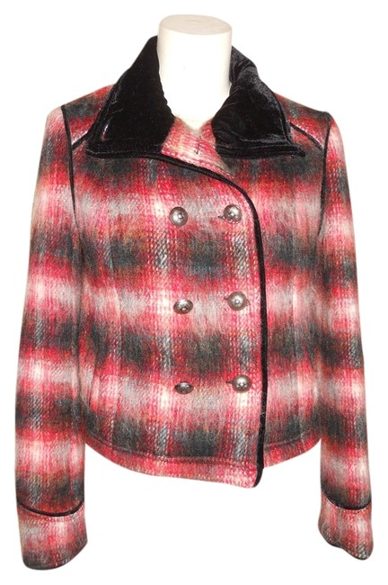 Item - Black Red & White Plaid Double Breasted Coat Size 2 (XS)